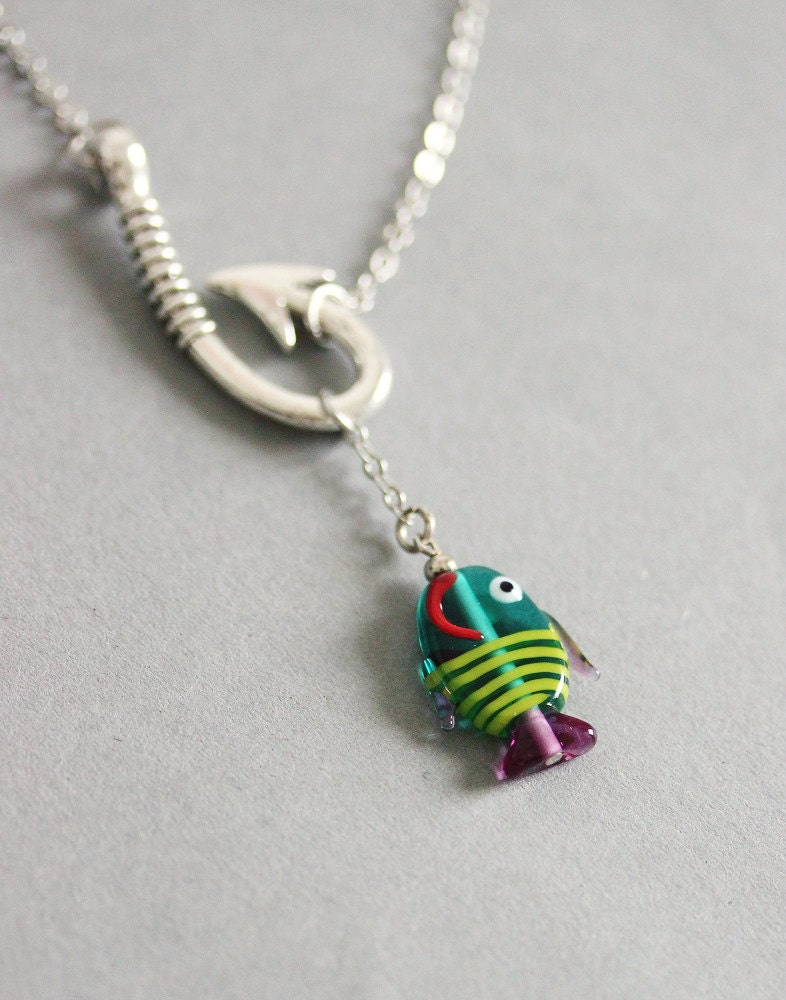 Fishing hook necklace fish necklace fish hook pendant for Fish hook charm