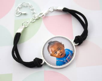 Photo Bracelet - Personalized Bracelet - Circle Photo Bracelet - Silver Bracelet - Custom Photo Jewelry - 25 mm / 1 in Circle