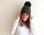 SALE Knitted Pom Hat Chunky Barley- Pokomoke Hat