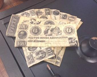 Kirtland Bank Note Set - Historic Replicas, Mormon Money
