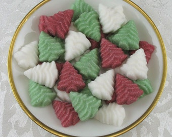 36 Christmas Tree Shaped Sugar Cubes in Traditional Mix for Christmas, hostess gift, tea party