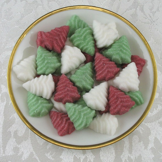 36 Christmas Tree Shaped Sugar Cubes in Traditional Mix for