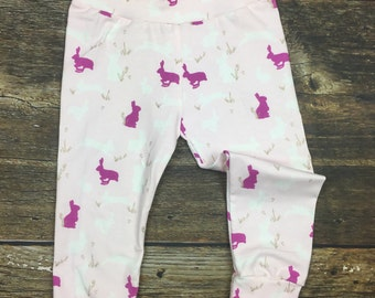 Infant/Toddler Girl Bunny Joggers~ Rabbit joggers~ Spring Leggings~ Easter leggings