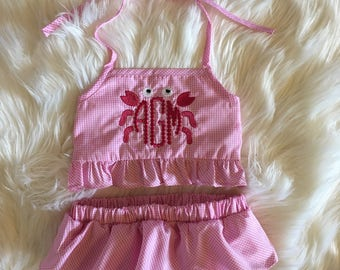 Little Girl Bathingsuit/Monogram Swimsuit/Girl Bathingsuit