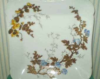 Square Japanese plate with branch and flower design- CHField Haviland Limoges plate- Japanoise design plate- gold outlined art branches