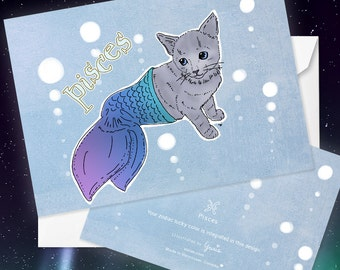 Pisces Cat zodiac sign + lucky color cards Greeting Card (5x7 size) , CAT ASTROLOGY, zodiac sign cards, grey cat, mermaid cat,  Russian blue