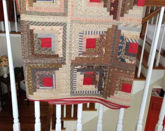 Antique Quilt Log Cabin Very Early Hand Stitched !800's Quilt Excellent Example of Early American Handwork Gorgeous Antique Fabrics