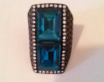 Green, blue ,black huge statement ring 7