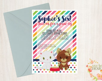 Kitten and Puppy Pet Party Printables - Great for Beanie Boo, Pet, and Stuffie Party - Invitations, Labels, Tags, and More