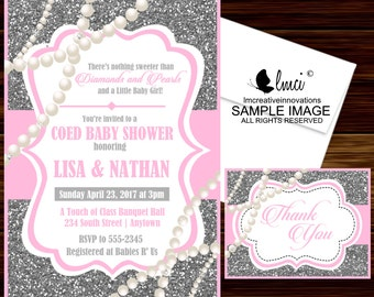 Great Diamonds And Pearls Baby Shower Invitation   Digital File Or Printed