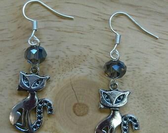 Beautiful handmade Tibetan silver cat earrings with smokey glass