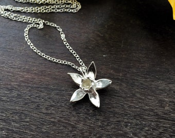 Sterling silver daffodil necklace, spring flower necklace