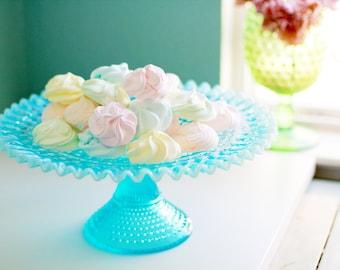 Blue Cake Stand / Fenton Cake Stand / Blue Hobnail Cake Stand / Blue Opalescent Cake Pedestal / Vintage Cake Plate / Pastel Cake Stand