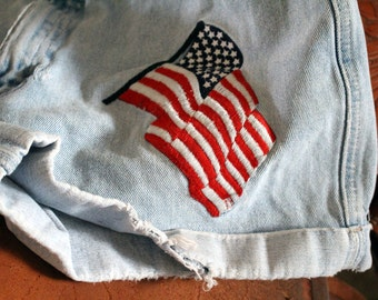 Vintage American Flag  Denim Shorts