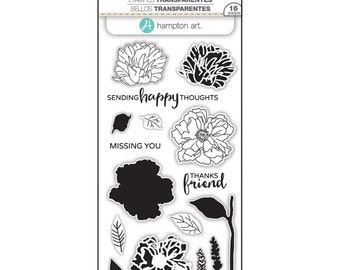 Hampton Art LAYERING Stamps - FLOWER HAPPY clear stamp set - Missing You Thanks friend Sending Happy Thoughts SCO748 1.cc02