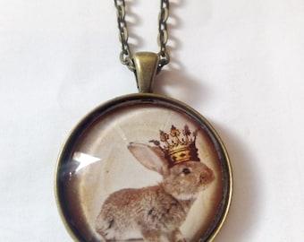 rabbit bunny glass picture pendant necklace
