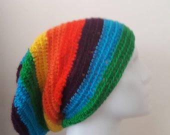 Crochet rainbow slouchy beanie , striped  crochet slouchy beanie, crochetted slouchy beanie ,  striped rainbow crochet slouchy hat