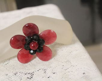 Vintage Flower Pin, Mod Pink Black Crystal Flower Pin