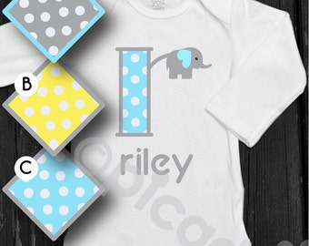 Baby boy or toddler boy mustache onesie with personalized in marlboro new jersey baby boy elephant bodysuit baby boy elephant monogram onesie newborn boy polka dot monogram newborn baby negle Images