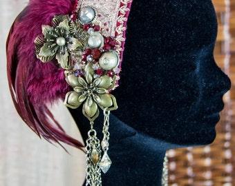Tribal headdress - Burgundy and bronze ethnic headdress