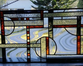 Stained Glass Window Panel,Contemporary Stained Glass Panel,Handmade,Home Decor,Decorative Glass Art,Window Hanging,Wall Hanging