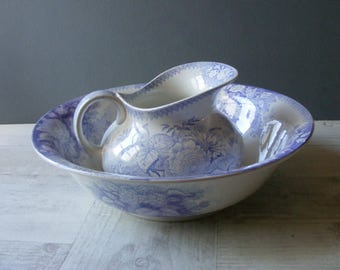Antique French Lavender  Pitcher and Wash Bowl, by Sarreguemines/Lavender Ironstone.
