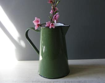 Vintage French Green Enameled Pitcher.