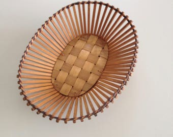 Mid Century Oblong Retro Fruit or Bread Basket bought in Denmark Wood 60s