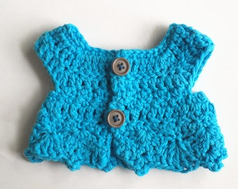 Crochet doll shirt, cotton crochet vest, waldorf doll clothes, cuddle doll sweater, bamboletta cuddle doll top