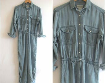 Modern Green Jumpsuit/ 1980s Coveralls/ Vintage Banana Republic Button Down Pantsuit/ Women's Size Small to Medium