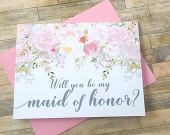 Matron of honor proposal card - will you be my matron of honor card - flower girl - bridesmaid - maid of honor - blush - GARDEN ROMANCE