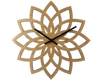 "12"" LOTUS WALL CLOCK Modern Laser Cut Wood"