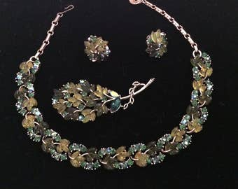 Lisner Necklace, Bracelet, Brooch and Earrings - Glowing Leaves in Green