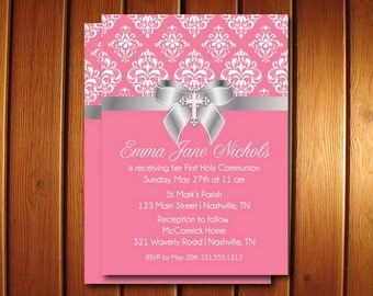 Damask First Communion Invite - Printable First Holy Communion Invitation