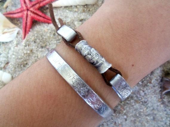 Medallion Bangle Bracelet, I refuse to sink, Nautical Jewelry, Secret Message, Affirmation Jewelry, Manta Bracelet, Custom, Personalized