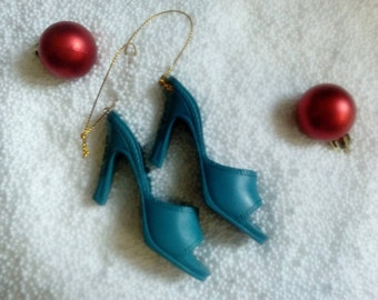 ROCKABILLY CHRISTMAS NEW!! Vintage Pinup High Heel Mules Christmas Ornament Deadstock Christmas Tree Decorations Rockabilly Shoes