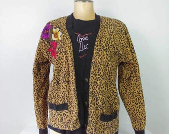 Leopard Print Cardigan Rockabilly Pinup Girl Clothing Size Large