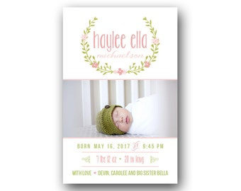 Birth Announcement - Baby Announcement - Girl Birth Card - Printable - Laurel Watercolor