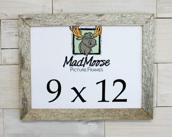 """9x12 GHOST GRAY [Thin x 1.25""""] Picture Frame (tags: barn wood frame, barnwood frame, weathered wood frame, rustic frame, wood picture frame)"""