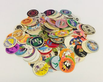 Vintage Pogs, 1990s Pogs Game, Animaniacs Pog, Pocahontas, Hamburger Pog, Cool Pogs, Jack In the Box Pogs, McDonalds Pog, 1990s Pop Culture