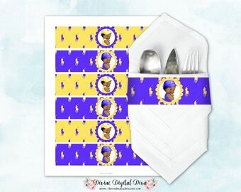 Napkin Wrappers Purple & Yellow Ponies |  Vintage Baby Girl African American | Digital Instant Download