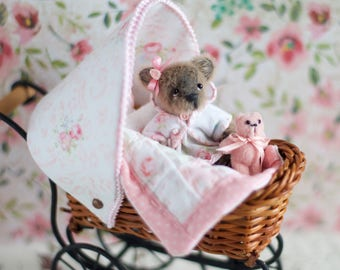 ooak miniature artist bear by cindy with buggy