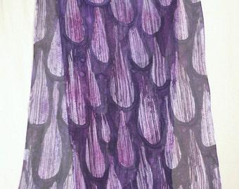 Purple/Violet Rain - Large Silk Chiffon Hand Painted Scarf