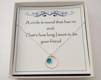 Sterling Silver Circle & Coloured Crystal Charm Necklace - gift for a friend