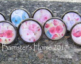 FLOWERS/FLORAL, Poppy, Roses, 38mm Drawer Knobs, Cabinet Pulls, Furniture Handles, Bronze Metal