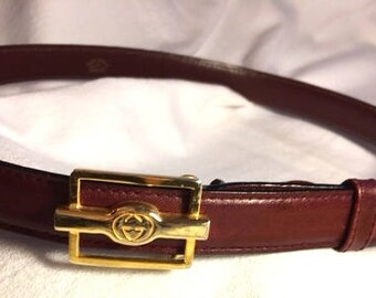 Gucci Burgandy leather women's belt
