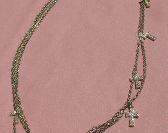 Retro Cross Multi Strand Chain Necklace Missing Strand Repair Repurpose