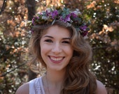 Woodland Flower Crown Purple and Green Hair Wreath Floral Headbad Wedding Hair Accessory