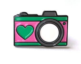 Camera With Heart Pink and Mint Enamel Pin