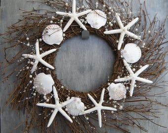 Seashell wreath, starfish wreath, shell wreath, coastal wreath, twig wreath